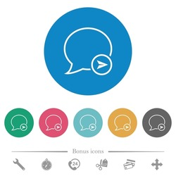Send message outline flat white icons on round color backgrounds. 6 bonus icons included.