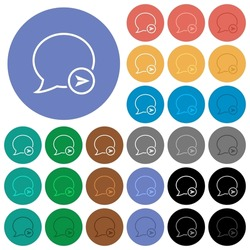 Send message outline multi colored flat icons on round backgrounds. Included white, light and dark icon variations for hover and active status effects, and bonus shades.