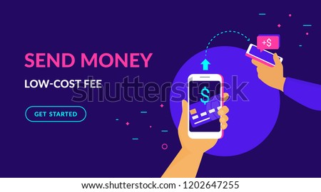Send money low-cost fee flat vector neon illustration for web and mobile design with text and button. Man sending money from credit card on smart phone to his friend mobile wallet via mobile app