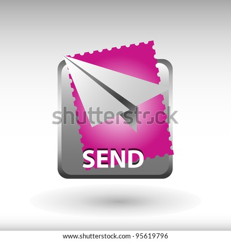 send now button, mail message icon and button