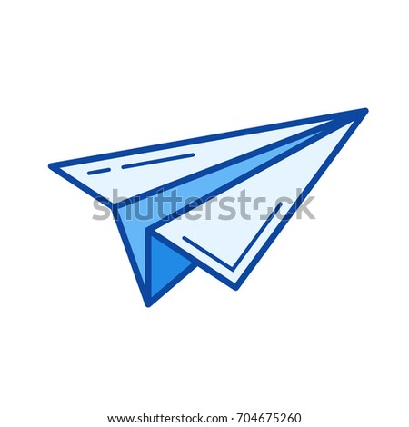Send vector line icon isolated on white background. Send line icon for infographic, website or app. Blue icon designed on a grid system.