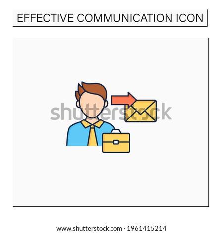 Sender color icon. Initiates communication, sending messages. Communicator. Effective communication concept. Isolated vector illustration Stockfoto ©