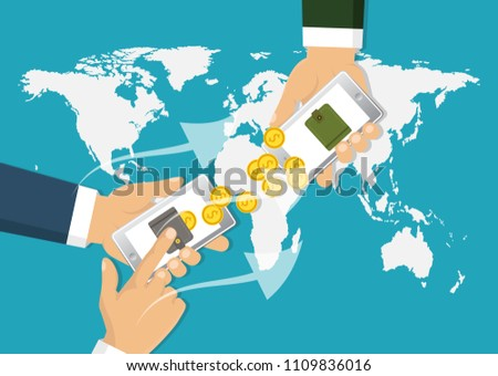 Sending and receiving money. Banking payment app. Vector illustration