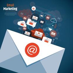 Sending email concept illustration. Email message and communication design. Vector illustration of email marketing and communication concept with email marketing digital advertising and media sign