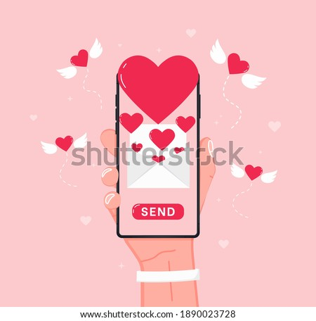 Sending love message. Hand holding cell phone with love heart on screen. Send or receive love sms, letter, email with mobile phone. Flying red heart with wings, envelope. Vector flat design