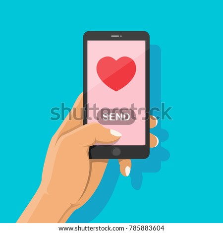 Sending love message to lover with red heart and send button. Hand holding smartphone and finger touch on pink screen background. Happy Valentines Day concept, Vector illustration flat cartoon.