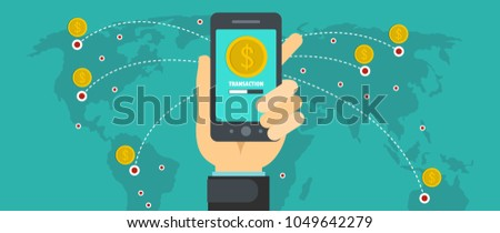 Sending money banner. Flat illustration of sending money vector banner for web