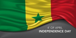 Senegal happy independence day greeting card, banner with template text vector illustration. Senegalese memorial holiday 4th of April design element with 3D flag with stripes
