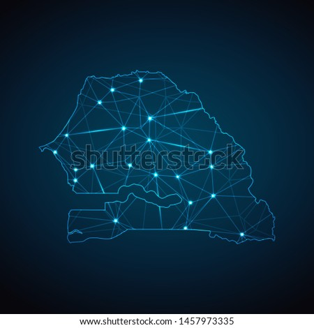 Senegal Map - Abstract geometric mesh polygonal network line, structure and point scales on dark background with lights in the form of cities. Vector illustration eps 10.