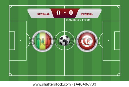 Senegal vs Tunisia scoreboard broadcast template for sport soccer africa tournament 2019 round semi finals and football championships in egypt vector illustration