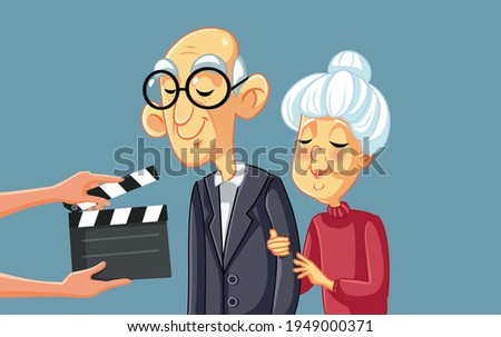 Senior Actors Filming Movie Scene with Art Director. Professional elderly actor and actress working on a set shooting a motion picture. Vector illustration depicting people from the entertainment indu