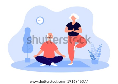 Senior adult couple doing yoga at home, practicing meditation on mat, exercising, keeping active healthy lifestyle. Vector illustration for old people activity, retirement, sport, fitness concept