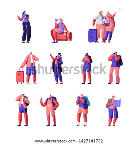 Senior and Young Tourists Set. Traveling People and Couple with Luggage Watching Map, Making Selfie, Visiting and Photographing Sight with Guide Character on Excursion Cartoon Flat Vector Illustration