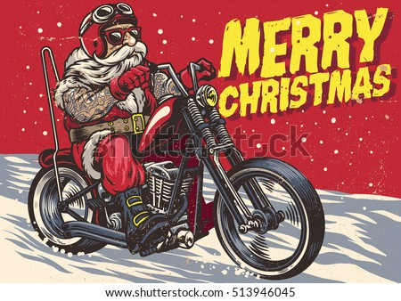 stock vector senior biker wear santa claus costume and riding a chopper motor 513946045 - Каталог — Фотообои «Ретро»