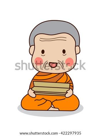 senior buddhist monk reading