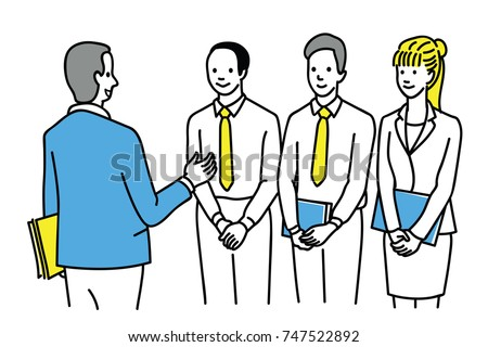 Senior businessman giving advise, training, explanation to his team work, man and woman, diversity, multi-ethnic. Outline, linear, thin line art, hand drawn sketch design, simple style.