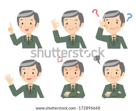 Senior businessman of various expressions