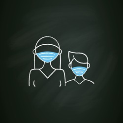 Senior chalk icon. Professor protection. Second-year student and freshman. Training, studying. Professional development. Isolated vector illustration on chalkboard