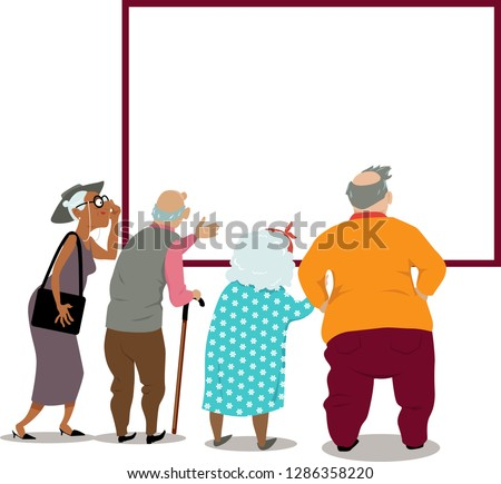 Senior citizens looking at a poster, announcement or in the window, copy space for your text, EPS 8 vector illustration