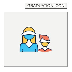 Senior color icon. Professor protection. Second-year student and freshman. Training, studying. Professional development. Graduation concept.Isolated vector illustration