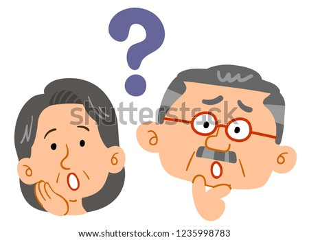 Senior couple feeling doubts Worried worry Anxious