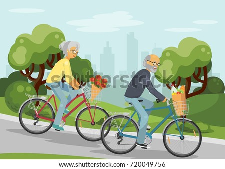 senior couple on bikes elderly