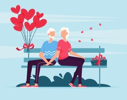 Senior couple sitting on bench. Loving couple on bench. Cheerful young couple sitting close to each other and smiling. Valentines day romantic dating gift card. Lovers relationship two people.