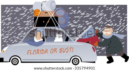 Senior couple with a dog packing a car under the snow and moving to Florida, EPS 8 vector illustration, no transparencies Stock fotó ©