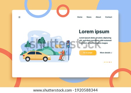 Senior disabled woman asking for donation outside. Person in wheelchair, car, street flat vector illustration. Charity, beggary, disability concept for banner, website design or landing web page Photo stock ©