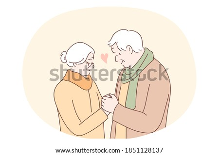 Senior elderly couple living happy active lifestyle concept. Mature aged couple grandparents cartoon characters standing, holding hands and looking at each other with love and tenderness