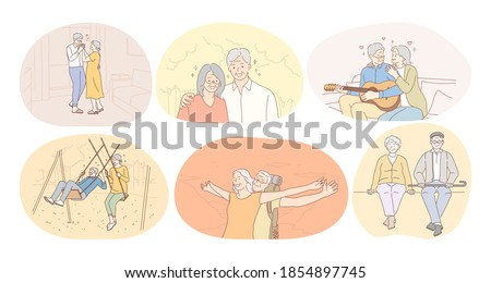 Senior elderly couple living happy active lifestyle concept. Mature aged couple pensioners loving, singing, having fun, playing, walking with dear people together. Retiree, pensioner happiness