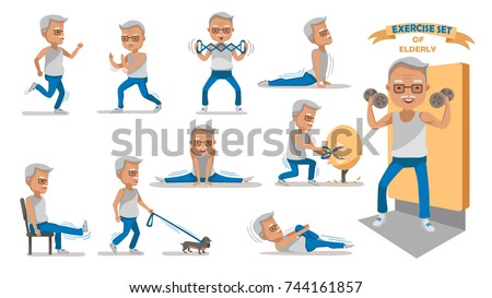 Senior exercise of male. exercising character design set. at home with a simple daily routine. Concept of health care people in the elderly.  Elderly man of Full Body cartoon set.