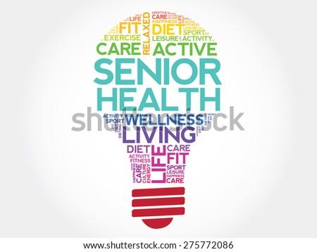 Senior health bulb word cloud, health concept