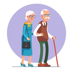 Senior lady and gentleman with silver hair walking together arm-in-arm. Old age couple. Flat style vector illustration isolated on white background.