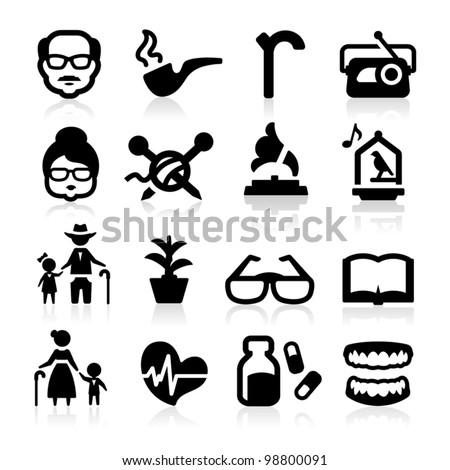 senior lifestyle icons set
