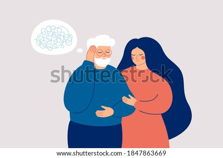 Senior man has dementia or amnesia. Nurse or social worker supports mature male with a mental disorder. Memory loss concept. Vector illustration Foto stock ©