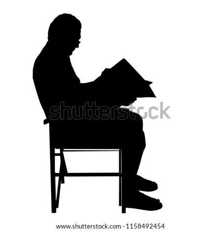 Senior man reading newspapers on the chair ,vector silhouette on white background