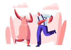 Senior Married Couple Sparetime with Dancing, Elderly People Active Lifestyle, Old Man and Woman in Loving or Friendly Relations Spend Time Together, Extreme Leisure. Cartoon Flat Vector Illustration