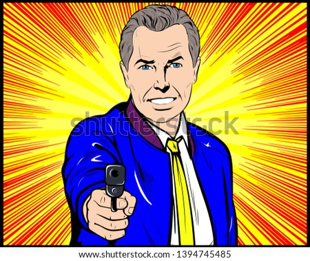 Senior old Man aiming gun. Vector, Retro Comic book cartoon, Pop Art  vintage Illustration.
