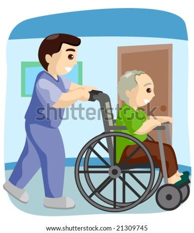 Senior on Wheelchair - Vector