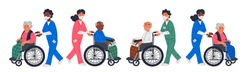 Senior patient. An elderly men women in a wheelchairs and male or female nurses in a face masks on a white background. Senior people protection, stay safe concept. Simple flat vector horizontal