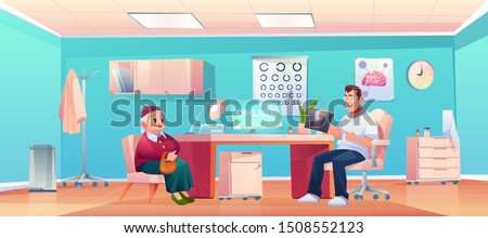 Senior patient at doctor therapist office, old lady and man practitioner at hospital medical office or cabinet for consultation and medicine diagnosis checkup. Health care Cartoon vector illustration