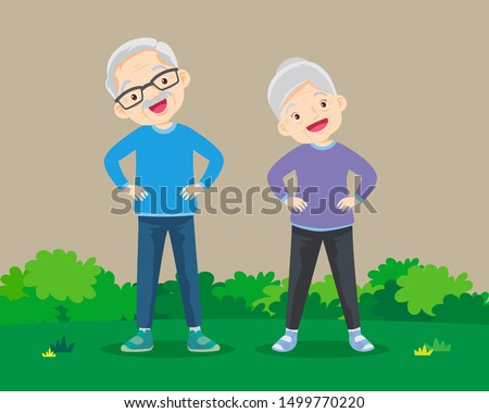 Senior people and gymnastics. Elderly couple. Grandparents doing exercises. Sport. Morning exercises.
