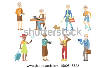 Senior People Different Activities and Hobbies Set, Healthy and Active Lifestyle of Elderly Men and Woman Vector Illustration