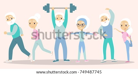 Senior people exercising. Old men and women doing fitness, jogging and yoga.