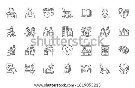 Senior people flat line icons set. Old man and woman exercising, active grandparents, wheelchair, alzheimer nursing home doctor vector illustrations. Outline signs for elder citizens infographic.