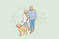 Senior people happy lifestyle concept. Positive elderly couple cartoon characters walking dog in park together spending time together outdoor vector illustration
