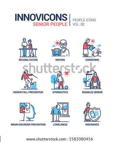 Senior people line design style icons set. Elderly care, activities, health problems. Rehabilitation, driving, gardening, fall, brain disorder prevention, gymnastics, disabled, loneliness, insurance