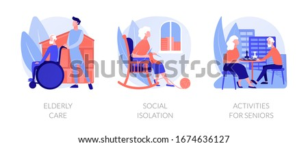 Senior people support flat icons set. Pensioners loneliness problem. Elderly care, social isolation, activities for seniors metaphors. Vector isolated concept metaphor illustrations.
