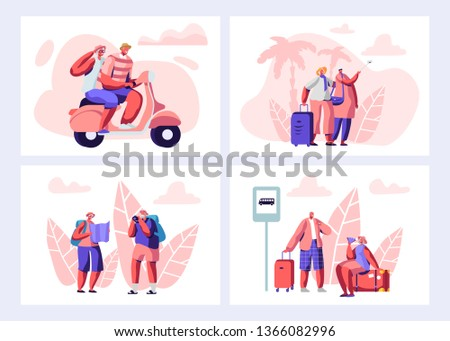 Senior People Traveling Set. Aged Touristic Travelers Waiting Bus on Station, Riding Bike, Watching Map, Making Pictures and Selfie on Sights. Men and Women Traveling Cartoon Flat Vector Illustration